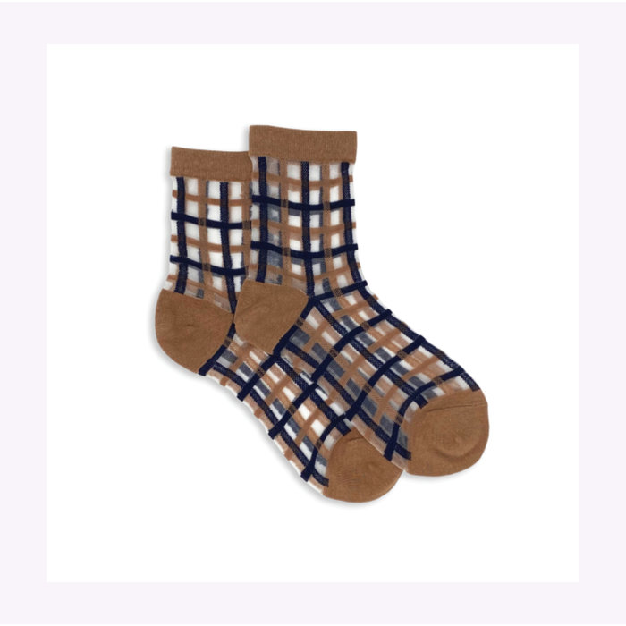 XS Unified Sheer Plaid Ankle Socks