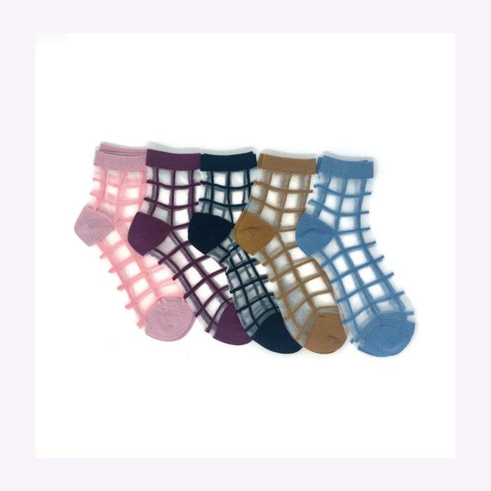 XS Unified XS Unified Sheer Windowpane Ankle Socks