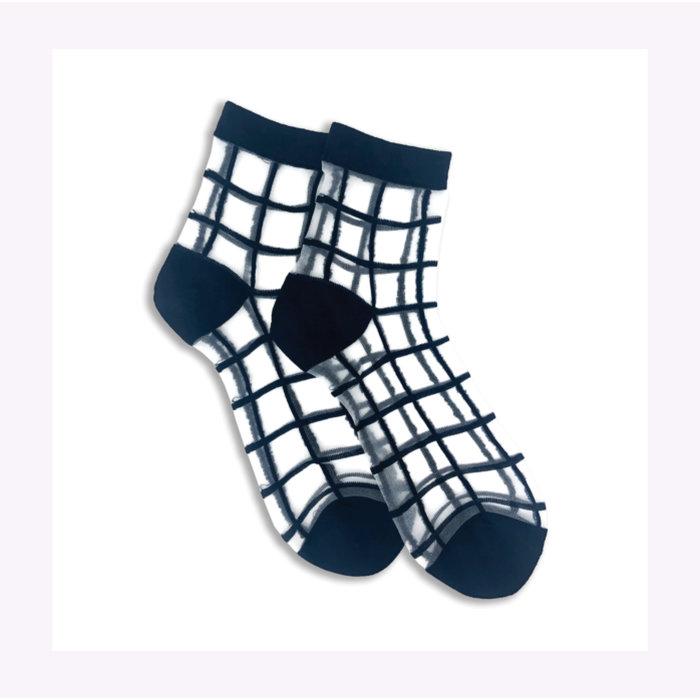 XS Unified Sheer Windowpane Ankle Socks