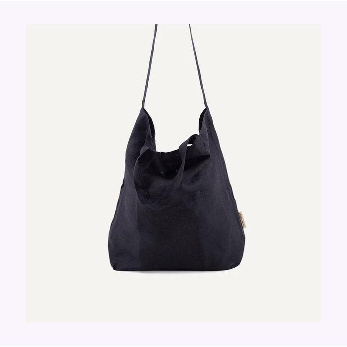 Monk & Anna Black Baya Linen Shopper