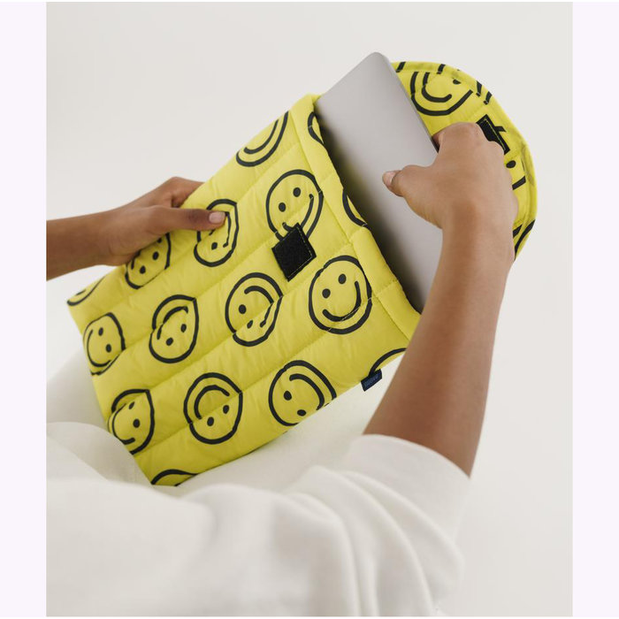 "Baggu Happy Yellow Puffy Laptop Sleeve 13"""