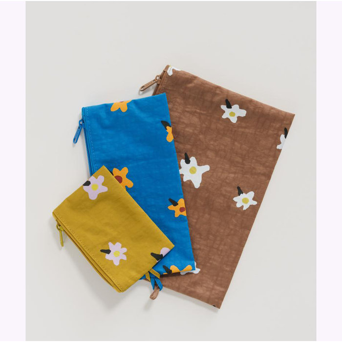 Baggu Painted Daisies Pouch L (Brown)