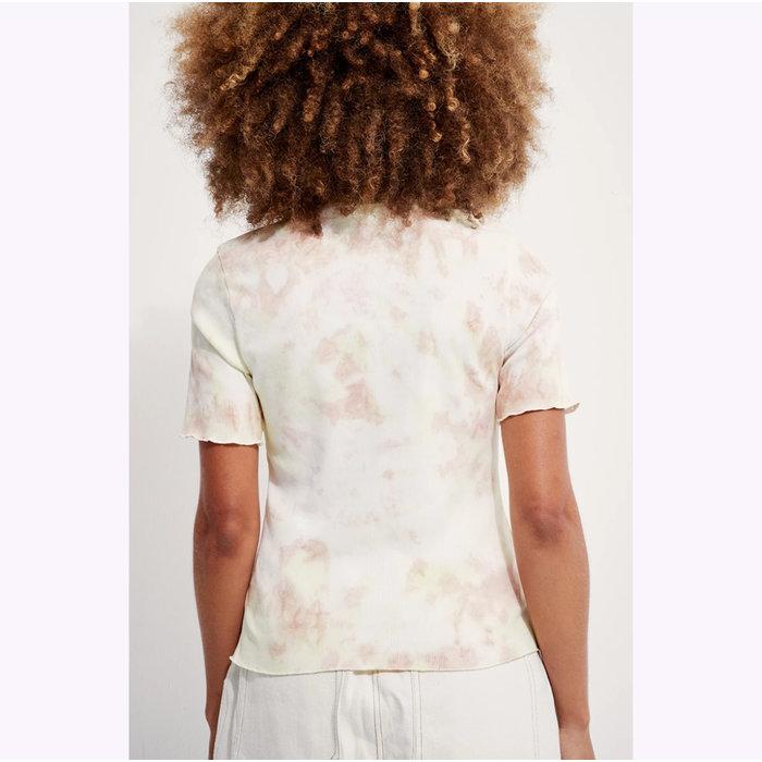 Back Beat co. Lime-Peach Organic Cotton Tie Dye Mock Neck