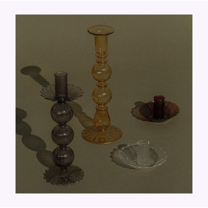 Black Glass Candle Holder B