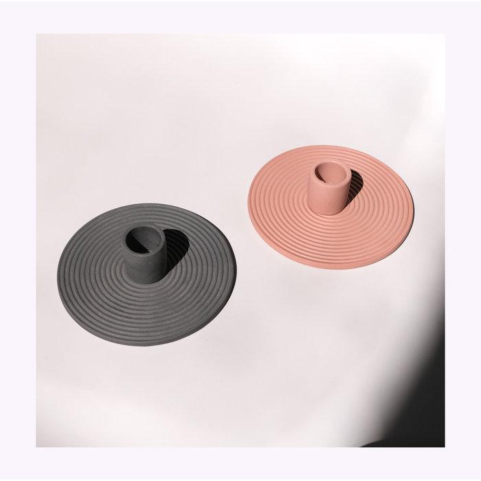 Bougeoir Céramique Circulaire Simple Noir