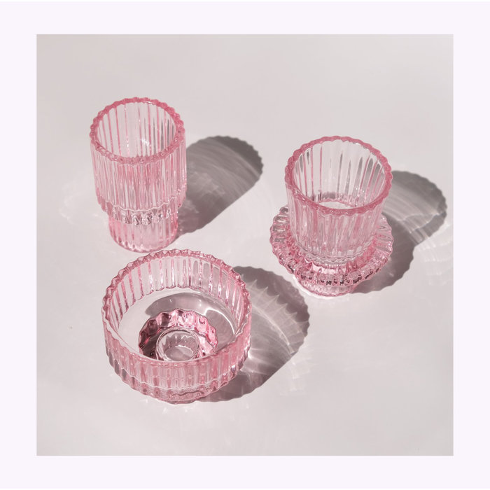 Pink Glass Candle Holder B