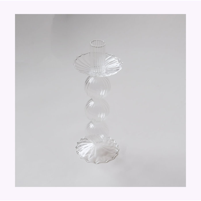 Clear Glass Candle Holder B