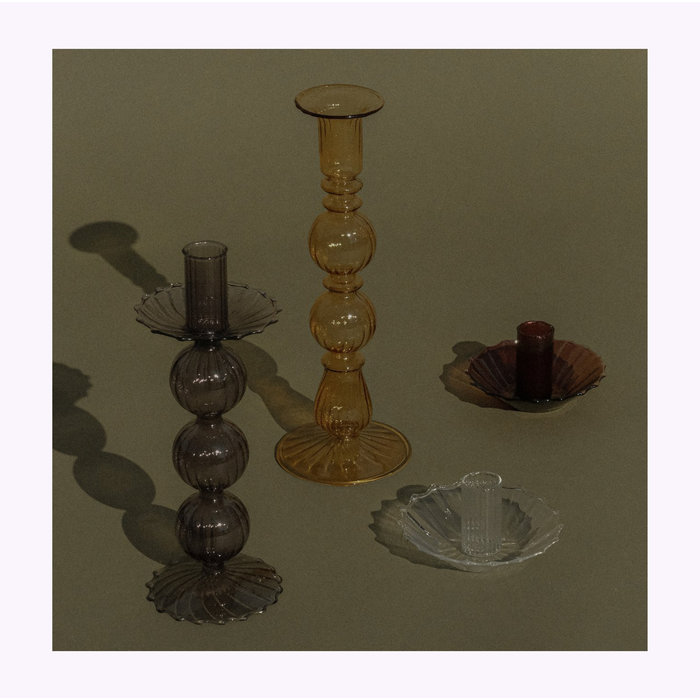 Small Brown Glass Candle Holder A