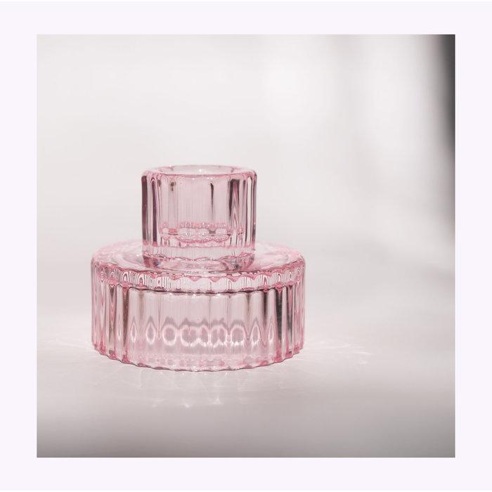 Bougeoir Verre Rose modèle A