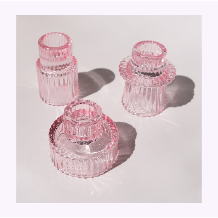 Pink Glass Candle Holder A