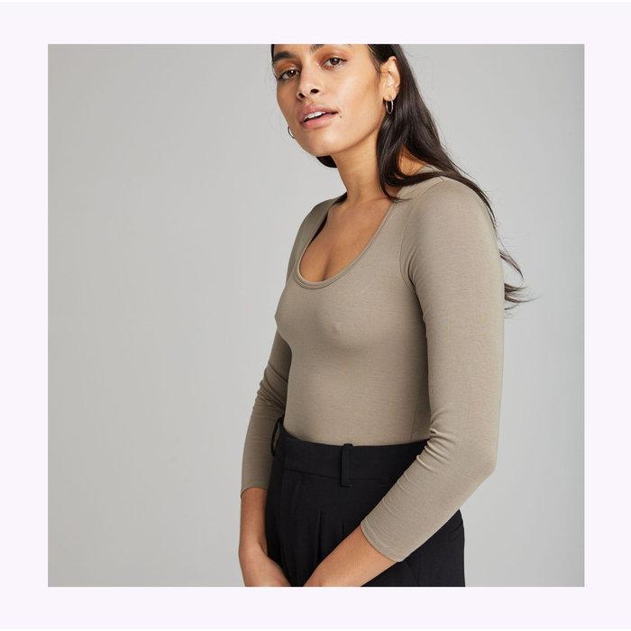 Richer Poorer Scoop Neck Grey Bodysuit