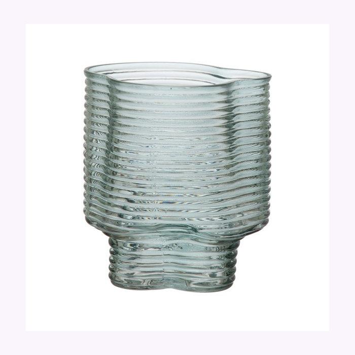 Bloomingville Bloomingville Moulded Green Glass Vase