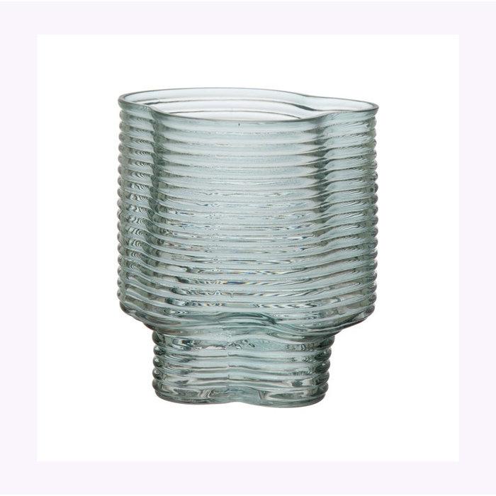 Bloomingville Moulded Green Glass Vase