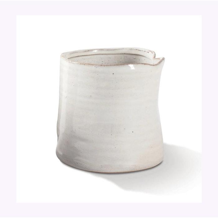 Cache-Pot White Vessel Fringe