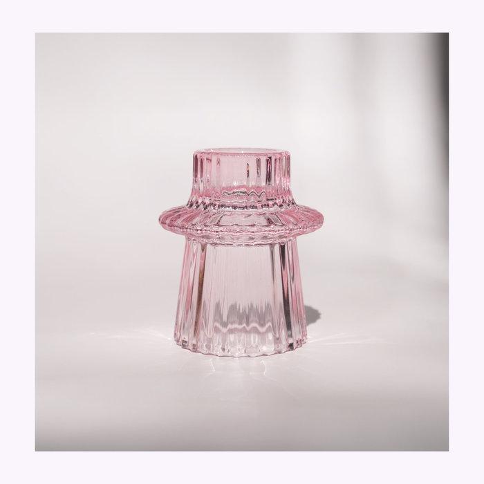 Bougeoir Verre Rose modèle C