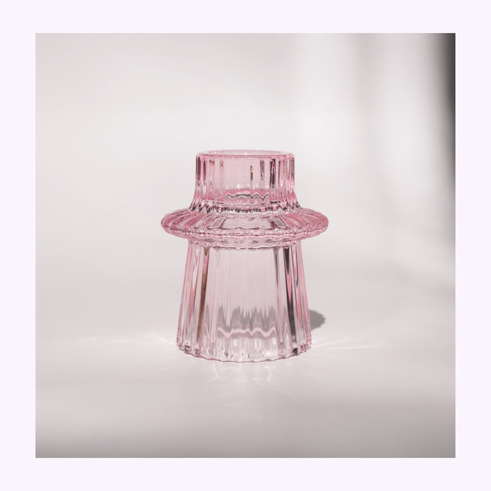 Pink Glass Candle Holder C