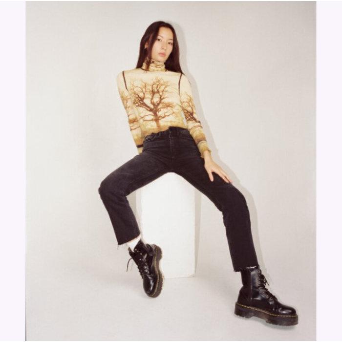 Jeans Taille Haute Droits Noirs Délavés JBD