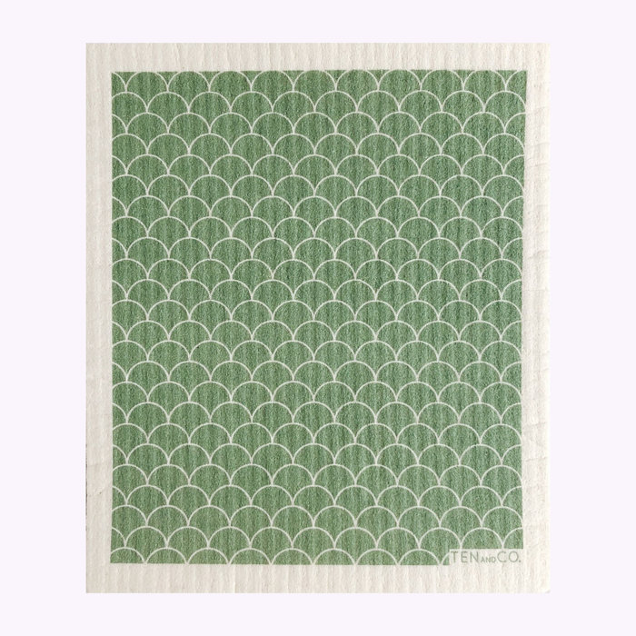 Ten & Co Ten & Co Green Scallop Sponge Cloth