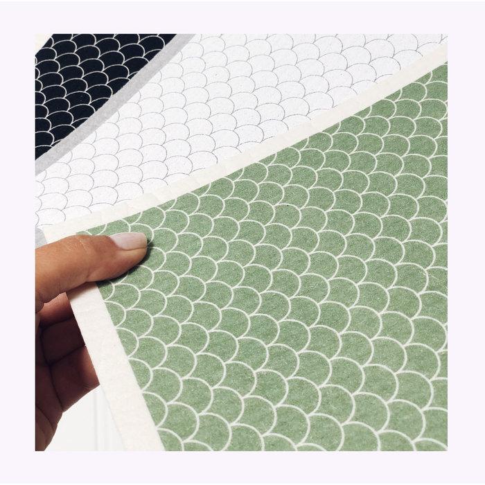 Ten & Co Green Scallop Sponge Cloth