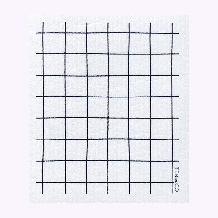 Ten & Co Ten & Co Black Grid Sponge Cloth