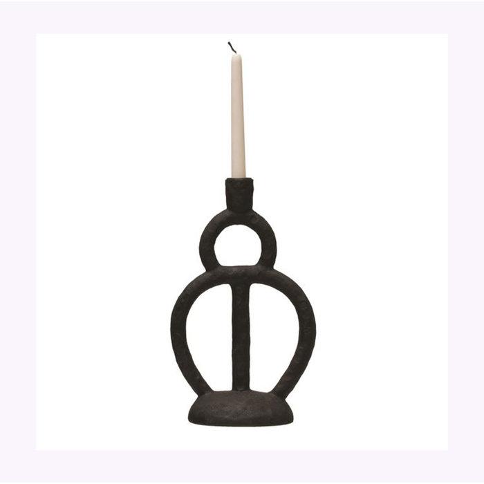 Bloomingville Black Resin Simple Candle Holder