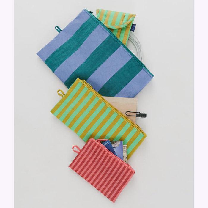 Baggu pochette Baggu Afternoon Stripes Pouch M (Lawn)