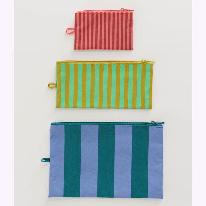 Baggu pochette Baggu Afternoon Stripes Pouch L (Periwinkle)