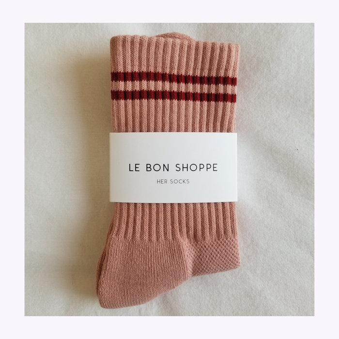 Le Bon Shoppe Le Bon Shoppe Vintage Pink Boyfriend Socks