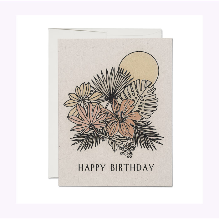 Red Cap Cards Tropical Birthday Card