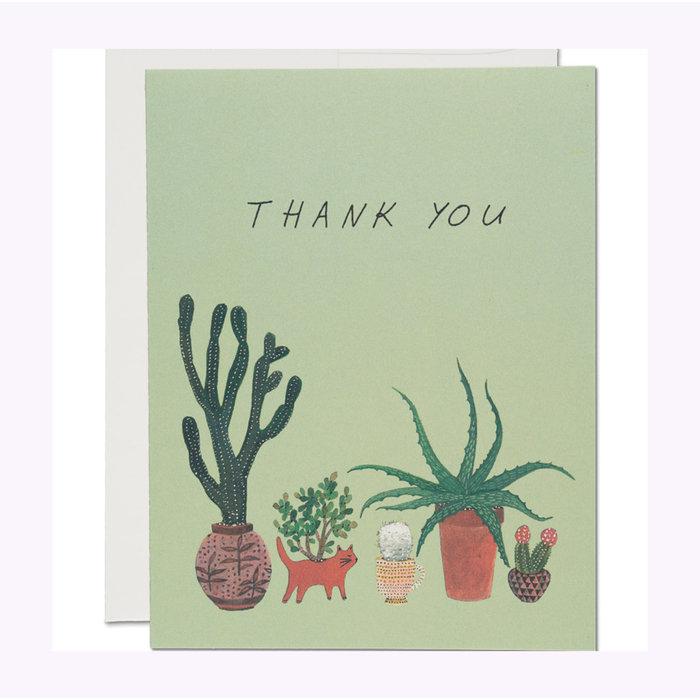 Red Cap Cactus Thank You Card