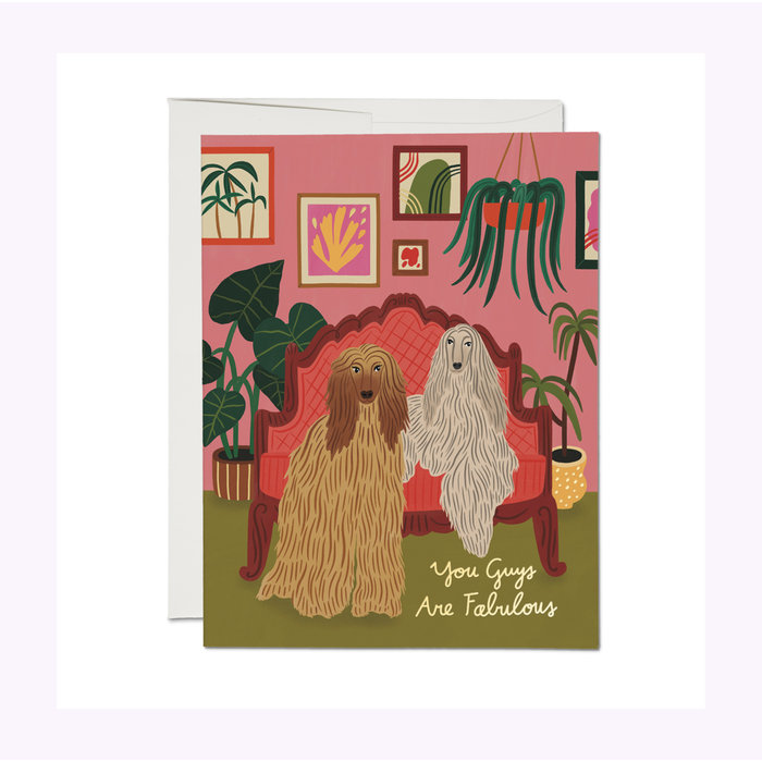 Red Cap Cards Afghan Dogs Card