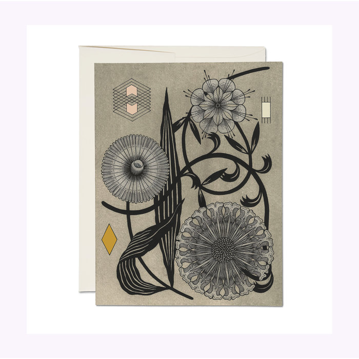 Red Cap Cards Floral Geometry Card