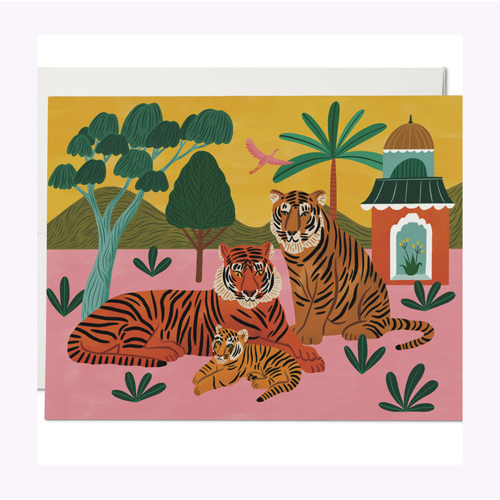 Red Cap Cards Tiger Family Baby Card
