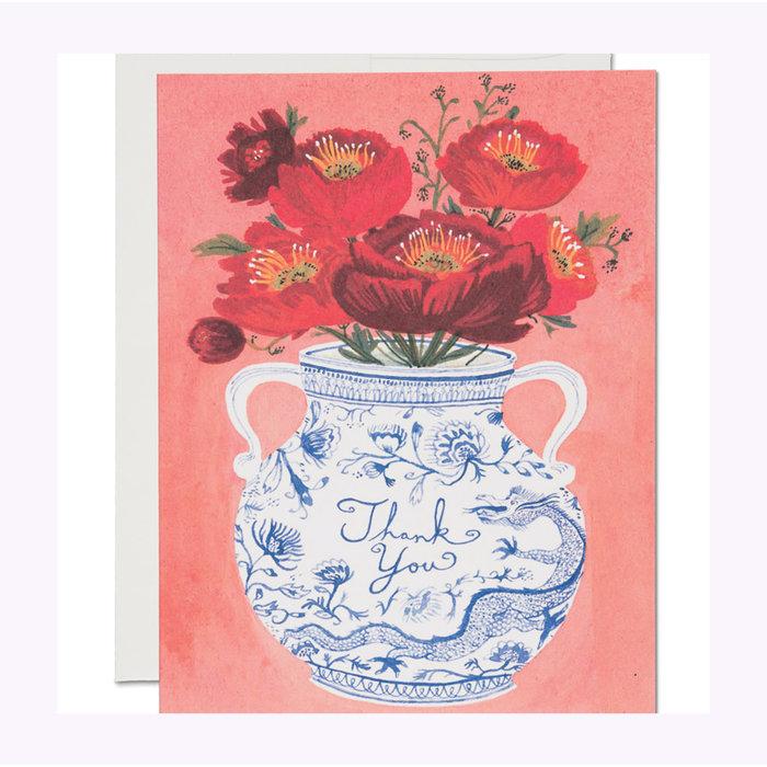 Red Cap Cards Dragon Vase Card