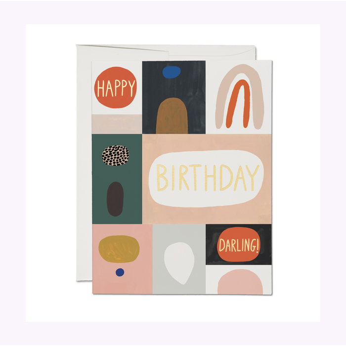 Red Cap Cards Color Block Birthday Card