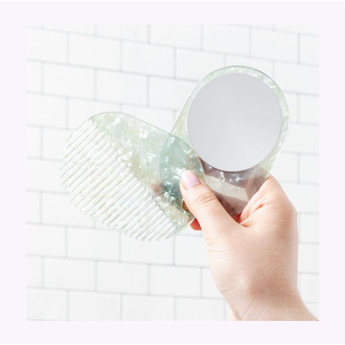 Miroir/Peigne 2 en un menthe Poketo