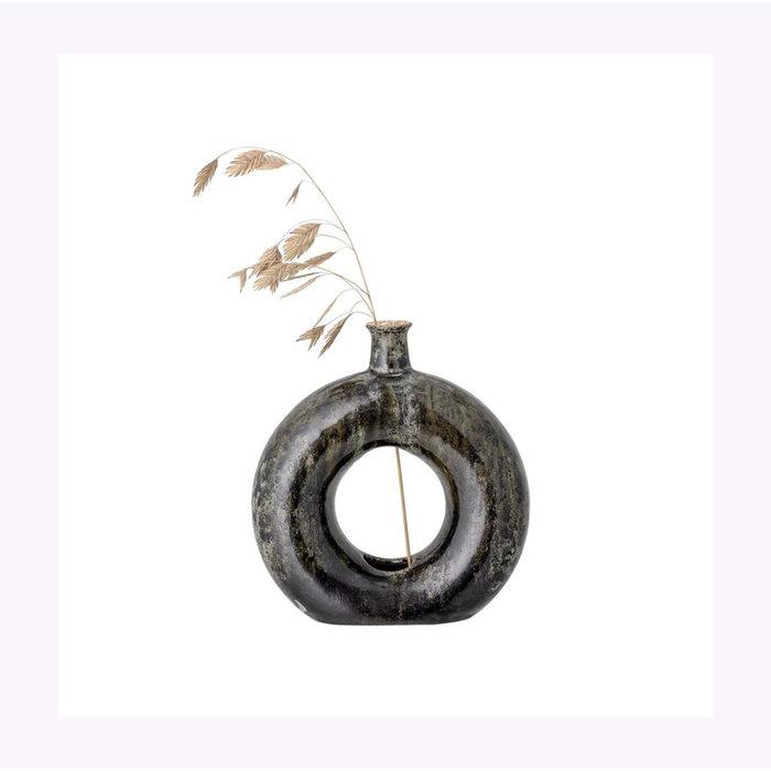 Bloomingville Olive & Black Open Vase
