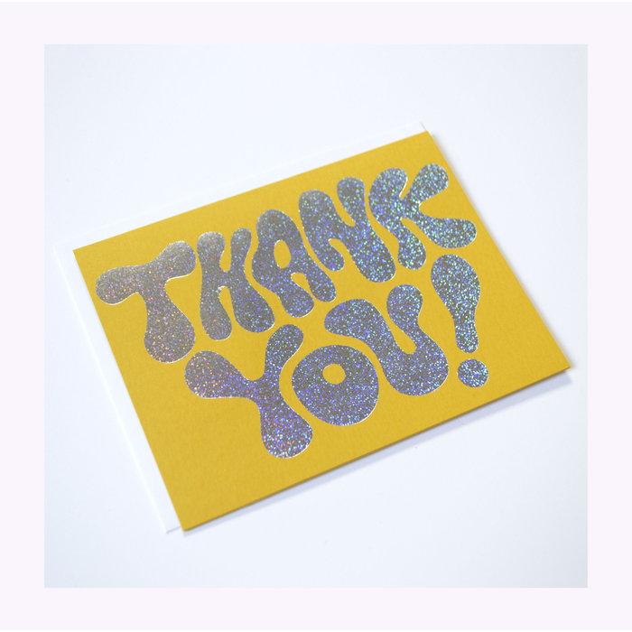 Carte Thank you Glitter Hologram Banquet Atelier