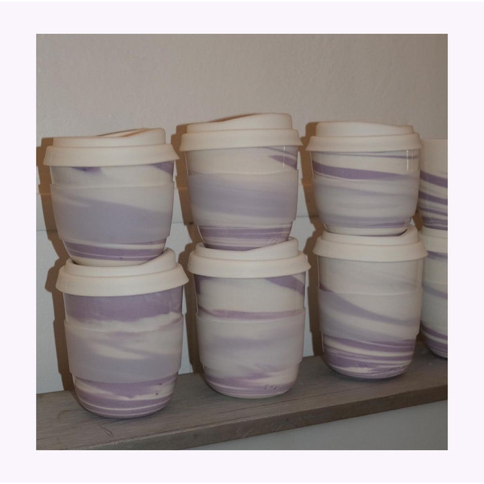 Pas Mon Style Lilac Marble 12oz Travel Cup
