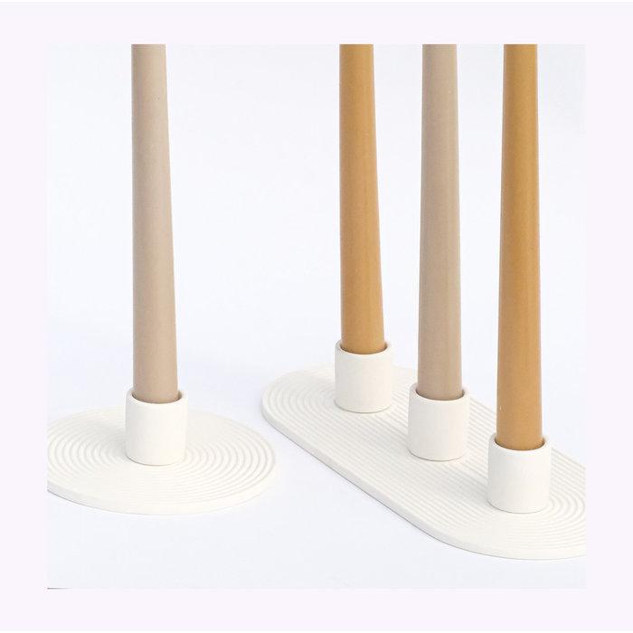 Bougeoir Céramique Circulaire Triple Blanc
