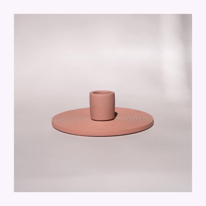 Bougeoir Céramique Circulaire Simple Terracotta
