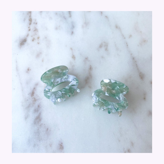 Horace jewelry Horace Nata Green & White Hair Clips (Pair)
