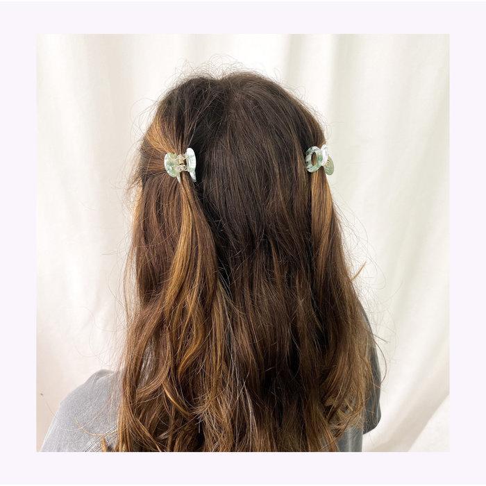 Horace Nata Green & White Hair Clips (Pair)