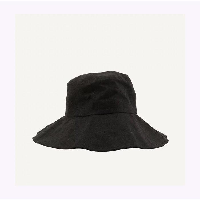 Chapeau Soleil en lin noir Monk & Anna