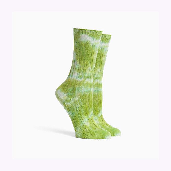 Richer Poorer Richer Poorer Green Apple Cable Knit Socks