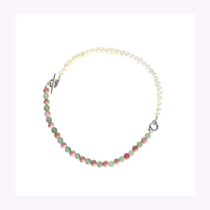 Nanana Nanana Green Aventurine, Pink Rhodonite and Pearl Necklace