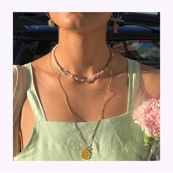 Collier Aventurine Verte, Rhodonite Rose et Perles Nanana