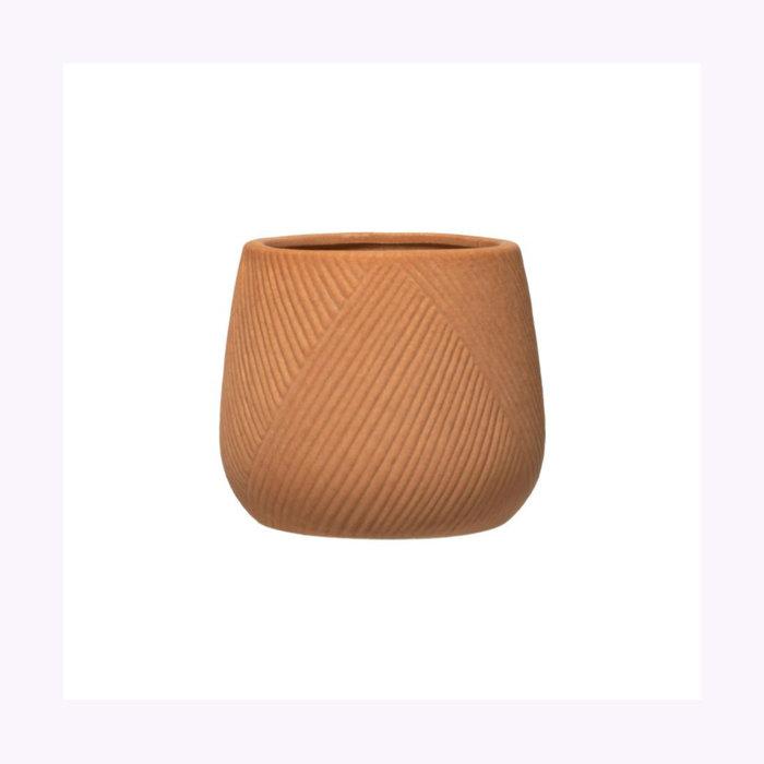 Creative Coop Cache-Pot Terracotta Gravé 5 po x 4,75 po Creative Coop