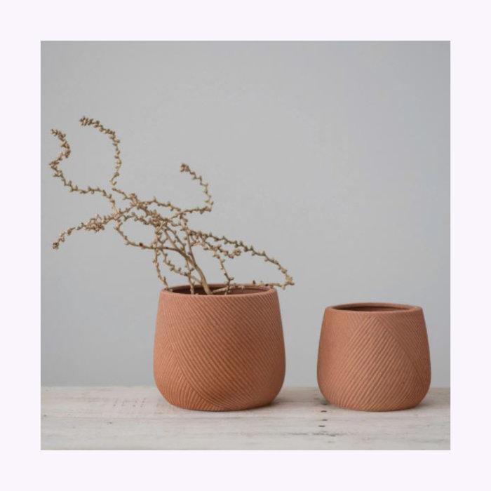 Cache-Pot Terracotta Gravé 5 po x 4,75 po Creative Coop
