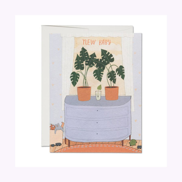 Red Cap Cards Nursery Plants Baby Card